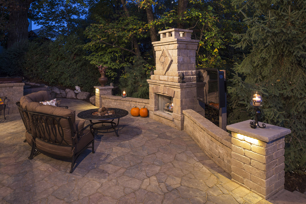 Hillside backyard renovation l r suburban landscaping for Small patio landscaping